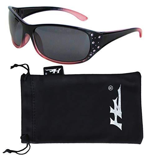Hornz HZ Serie Elettra - Frauen Prämie Polarisierte Sonnenbrillen (Schwarzer und roter Rahmen - dunkle Rauch-Linse)