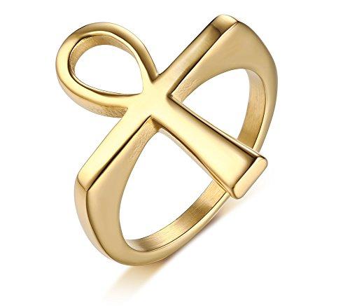 Vnox Männer Frauen Ankh Kreuz Edelstahl - Ring Pfund Gold