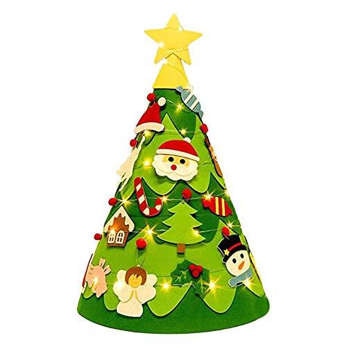 Biggystar Ciondolo Albero di Natale 3D Feltro Non Tessuto Ciondolo Tridimensionale Albero di Natale Regalo Fatto a Mano Puzzle Fai da Te per Bamb