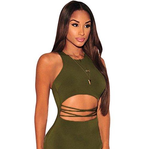 La Vogue Bodycon Robe Uni Midi Crayon Épaule Nue Slim Découpé Clubwear Vert Eté Vert