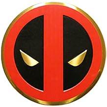 Classic DEADPOOL Icon, Officially Licensed Marvel Artwork, Premium Vinyl Gold Metallic Finish, 5cm Metal Sticker Pegatina