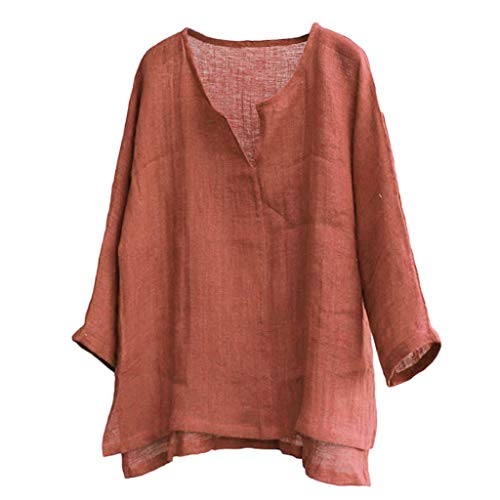 CICIYONER T-Shirt Herren Sommer, Mens Breathable Bequeme Normallack-Lange Hülse lose beiläufiges Bluse Schwarz Weiß Marine Orange M L XL XXL XXXL - Kragenlos Bluse