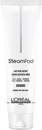 L'Oréal Professionnel Paris – SteamPod Latte Termo-protettore sino a 210°C, capelli da normali a fini, liscio a lunga durata, 24 ore di controllo crespo, con Pro-Keratina, pre-utilizzo piastra, 150 ml