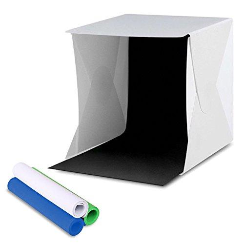 Amzdeal Lichtzelt mit Beleuchtung 30*31cm Fotostudio Set mit LED Leuchte inkl. 4 Hintergrund(weiß, schwarz, blau, grün)