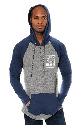 Icer Brands NFL Herren Fleece-Kapuzenpullover Henley Team Color, Herren, Fleece Hoodie Pullover Sweatshirt Henley, Team Color, Navy, Medium -