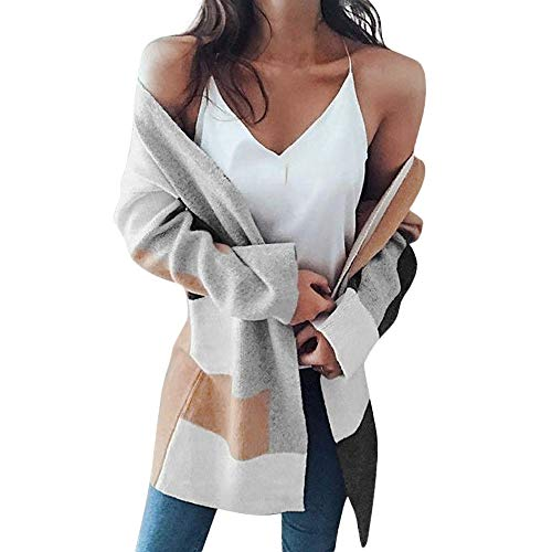 JYJM Frauen Cardigan Mantel Damen Strickjacket Trenchcoat Mantel Winter Elegant Windbreaker Freizeit Winterjacke Lose Wintermantel Baggy Lange Klobige Gestrickte übergroße Pullover Jumper Outwear -