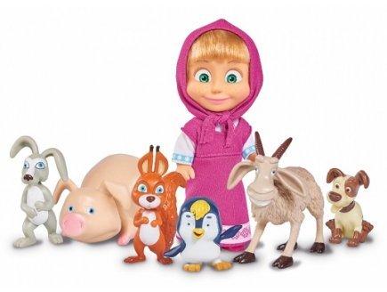 Masha et michka - coffret poupée masha et ses 6 amis animaux