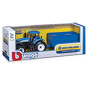 """Bburago B18-44060 """"New Holland T7040 Farm Tractor and Trailer"""" Model Toy, 1:32 Scale ( Assorted Model )"""