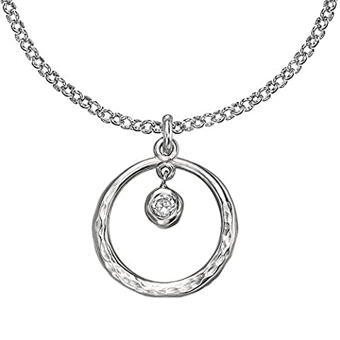 Dower & Hall Dewdrop Silver Beaten Circle White Topaz Pendant on 46cm Trace Chain