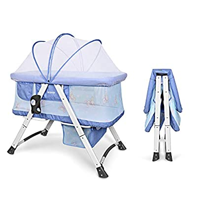 Besrey Baby Cradle Cot for Baby Kids with Swing Function Bassinet Set Travel, Protect Baby from Mosquito, Foldable Collapsible Nursery Bed,Blue/Gray