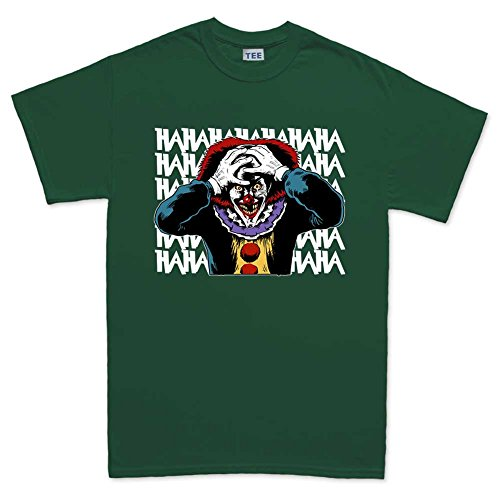 Mens Laughing Clown Scary Halloween T Shirt (Tee) M Forest Green