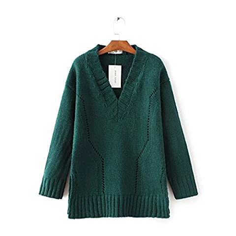 WJS-ClothingClothingThe sweater sweater dress and head color heart-shaped collar sweater,green,F
