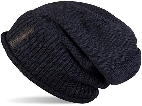 styleBREAKER warme Feinstrick Beanie Mütze mit sehr weichem Fleece Innenfutter, Unisex 04024065, Farbe:Midnight-Blue