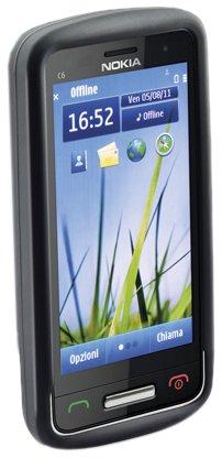 Cellular Line Silikon-Hülle, spezifische Folie und Reinigungstuch für Nokia C6-01 schwarz (C6 Nokia)