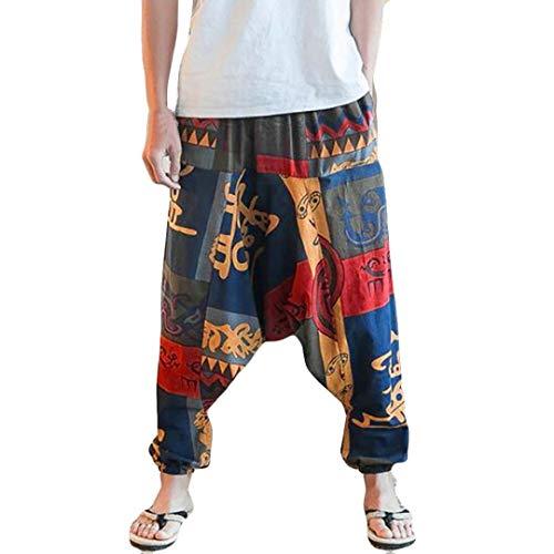 YunYoud Unisex Loose Drop Crotch Floral Yoga Joggers Aladdin Harem Trousers Pants winterhosen damen leichte hosen leinenhosen für online kaufen stoffhose schwarz hose (Capri Cropped Pants Floral)