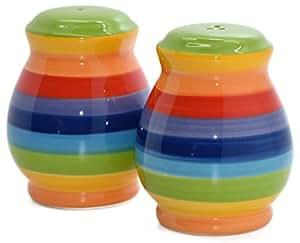 Windhorse Rainbow Striped Ceramic Salt & Pepper Cruet Shaker Set - 7cm - Hand Painted
