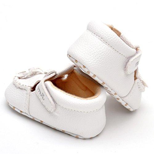 Estamico Baby Mädchen Quaste mokassins PU Sneaker Reines weiß