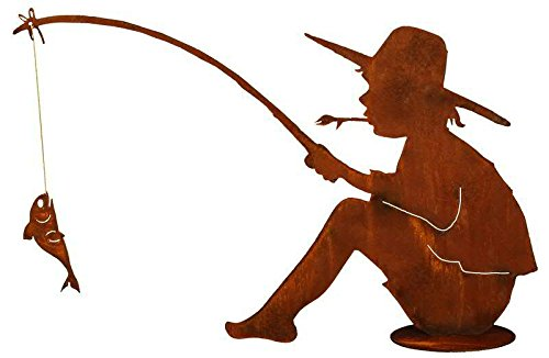Rost - Angler mit Fisch - Höhe 60cm / Länge 90cm - Indoor & Outdoor - Rostdeko - Rostfigur