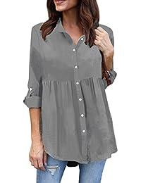 Mujer Camiseta, ❤️Ba Zha Hei Blusa Ajuste Moderno Cuello blanco Elegante y Moda Camisa