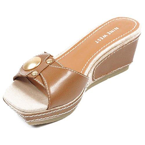 NINE WEST - Sandali Di Piattaforma Donna NWZOILO DK NATURAL Tacco: 7 cm Marrone