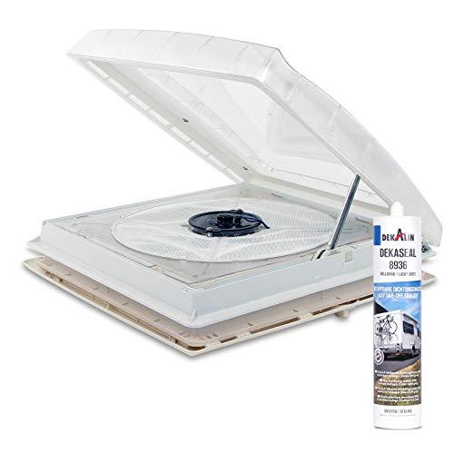 Thule Kurbeldachhaube Omni-Vent transparent 40x40 12 Volt Ventilator + Deklain