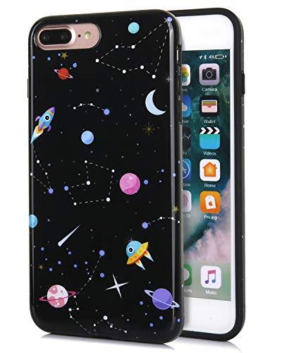 FeelingJoy Kompatibel iPhone 7 Plus/iPhone 8 Plus Hülle, IMD Marmor Space Floral Time Pattern Print Cover Design Schutzhülle Stoßfest Bumper Phone Case für Mädchen Frauen, IMD2 Pattern Design Case