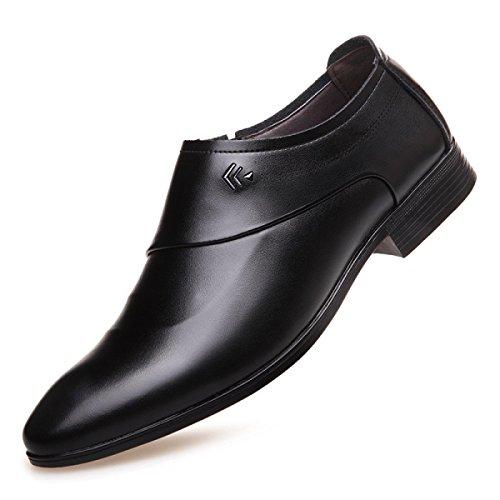 Grrong Mens Sapatos De Couro Verdadeiro Afiada Negócios Vestido Formal Preto Marrom Preto