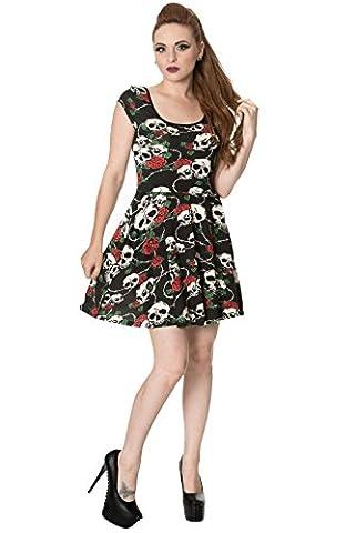 Gebannt - SKULL ROSES - Frauen - Jerseykleid, Schwarz (XL)