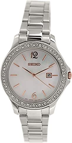 Seiko SXDF79P1 Stainless Steel Stone Set Bracelet Watch