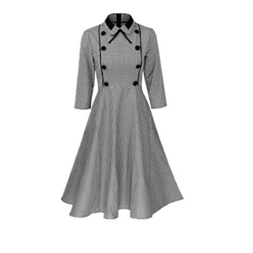 Wenyujh Damen Vintage Kleid 3/4 Ärmel Kariert Kleid Schwarz-Weiß Karo Faltenkleid Midikleid Große Größen (Karo-stoff Große)