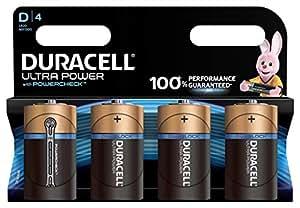 Duracell Ultra Power Piles Alcalines type D, Lot de 4 piles