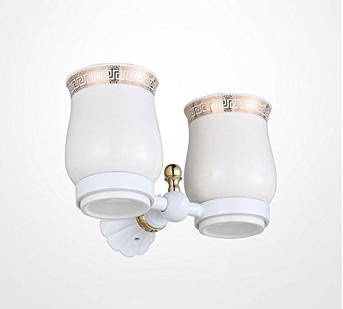 Brosse à dents porte-gobelet Xzi Base en Alliage Céramique Coupe Blanc Double Coupe Style Européen 19 * 10cm A+