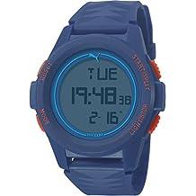 Puma Vertical - Reloj digital con correa de poliuretano para hombre, color azul/LCD