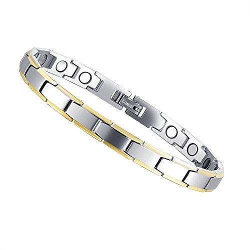Titan Magnettherapie Armbänder für Frauen, elegante Magnet Armband Schmerzlinderung für Arthritis Karpaltunnelsyndrom Remasuri & Gold, von blu7ive (Natürliche Depression Relief)