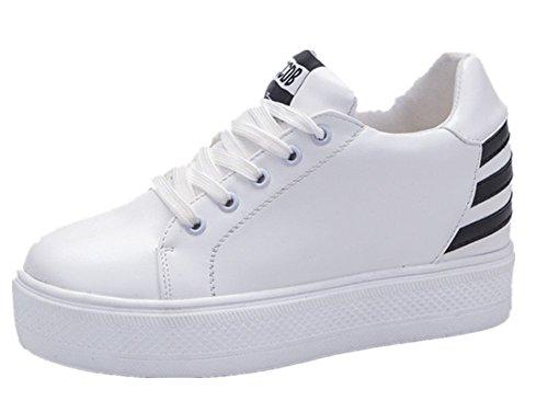 ef7ba112712 Femme Pu De Chaussures Compensées Wealsex Tennis Cuir Sneaker Baskets Noir  fgU6q6
