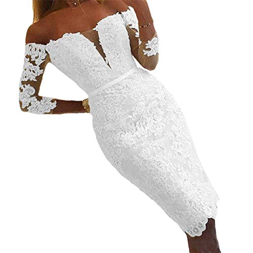 YASIOU Hochzeitskleid Damen Trägerlos Kurz Spitze Tüll Standesamt Vintage Brautkleider 3/4 ärmel...