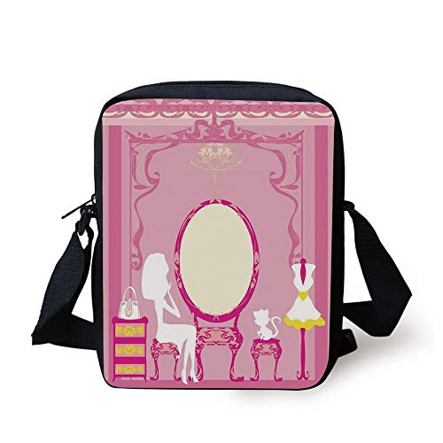 CBBBB Girls,Lady Sitting in Front of French Cosmetic Make Up Mirror Furniture Dressy Design,Pink Yellow Print Kids Crossbody Messenger Bag Purse - Front Pocket Hobo Bag