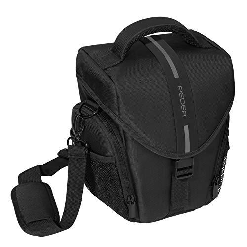 """PEDEA DSLR-Kameratasche \""""Essex\"""" Fototasche für Spiegelreflexkameras mit wasserdichtem Regenschutz, Tragegurt und Zubehörfächern, Gr. L schwarz/grau"""