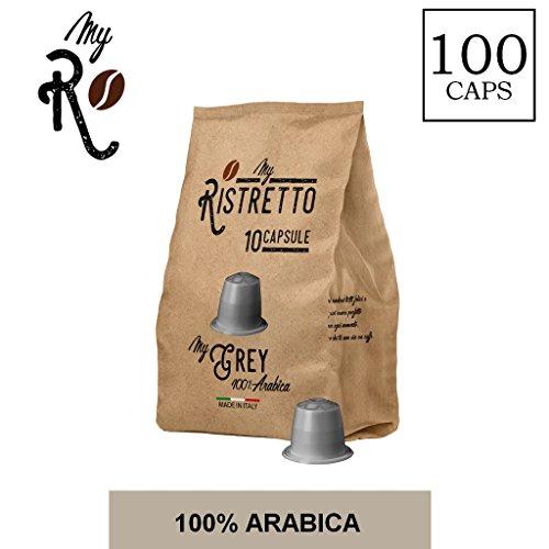 100 capsule compatibili Nespresso - 100 capsule MyGrey caffè compatibili macchina caffè Nespresso - 100% Arabica - MyRistretto