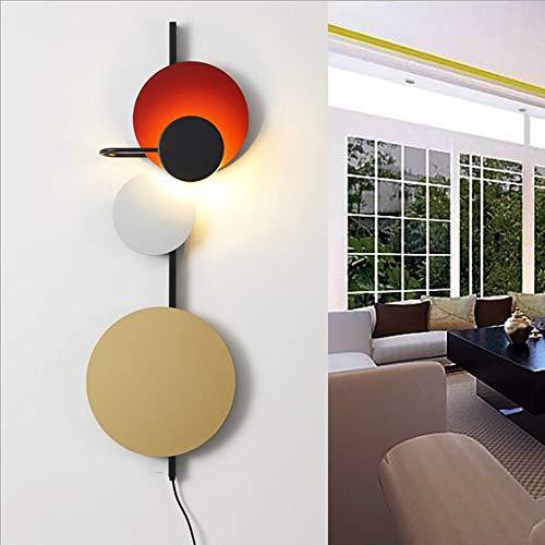 BLife LED Nordic Wandleuchte 12w Planet Disc Stück Hardware Postmoderne Farbe Macaron Art Wandleuchte für Restaurant/Cafe/Schlafzimmer/Wohnzimmer,Red -