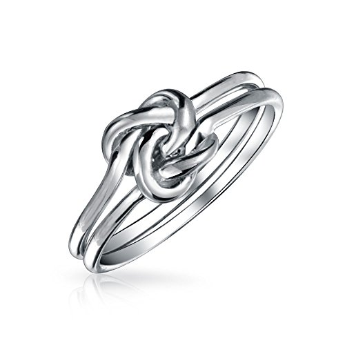 Einfache Doppel Band Einheit Irischen Keltischer Knoten Unendlichkeit Ewig Freundschaft Stapelring Sterling Silber 1MM (Doppel-band Silber Ring)