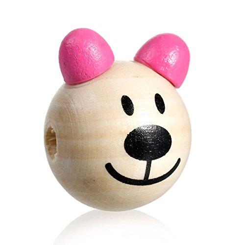 SiAura Material 5 Stück Hinoki Holzperlen 24x30mm mit 5-5,6mm Loch, Rund, 3D Bär, Naturfarben Pink zum Basteln