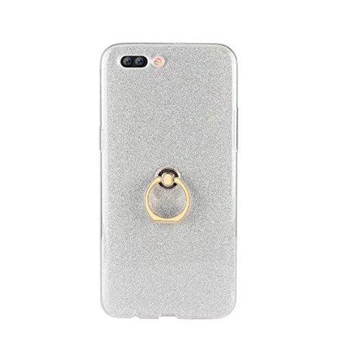 EKINHUI Case Cover Soft Flexible TPU Back Cover Case Shockproof Schutzhülle mit Bling Glitter Sparkles und Kickstand für OPPO R11 Plus ( Color : Blue ) White