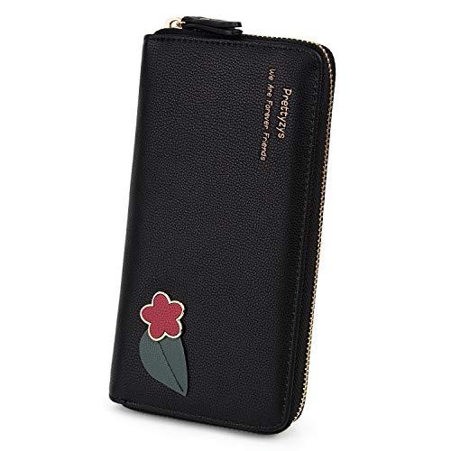 Portafoglio donna UTO'fiore e foglie' Portafoglio Ragazza 8 slot per Porta carte credito e scomparti con cernierain pelle sintetica Nero