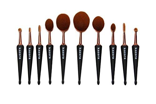 10 pcs Kazora kit de pinceaux de maquillage professionnel ovale Brosse à dents Ensembles Brosse de Maquillage pour poudre, Blush, fond de teint, Correcteur, eyeliner, fard à paupières Cosmétique Outil Unique Poignée en forme de parapluie