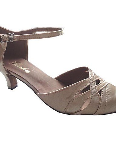 Absatz Grey Schuhe Synthetik Bauchtanz Standard Modern Tanz Damen Salsa Satin Latin ShangYi Ma脽gefertigter 5qpW7