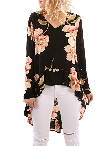 Blooming Jelly Frauen Oberseiten Blumendruck Asymmetrische Lange Unregelmäßige Hemden Rüsche Gefaltete Hohe Niedrige übergroß Oversized Rückseitige Lange T-Shirt Bluse (Asymmetrische Leder-heels)