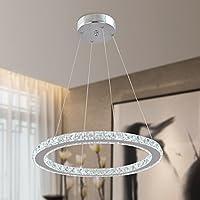 KJLARS moderno lampadario di cristallo in metallo cromato pendente illuminanti anelli regolabili in altezza LED Lamp lampada a sospensione … (diametro-60)