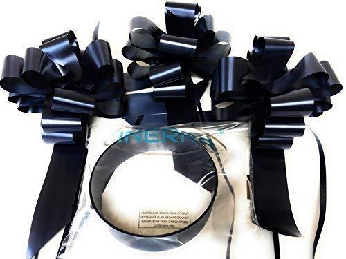 """INERRA Matrimonio Decorazione Auto Kit - 3 x Grande Pre-assemblato 7"""" Fiocchi con 14-Loops e 7 Metri di Nastro - con Colore Match - Nero preisvergleich"""