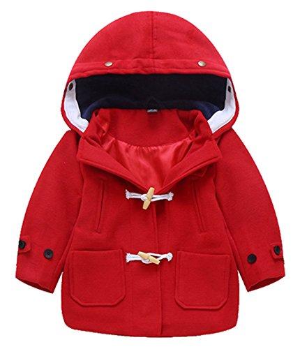 Mantel Kapuze Jacke Kinder Herbst Winter Oberbekleidung Dufflecoat für Körpergröße 85-135cm Britischer Stil Rot (Britische Roten Mantel)